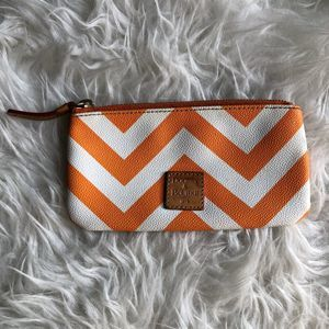 Dooney & Bourke Orange White Chevron Pouch Wallet